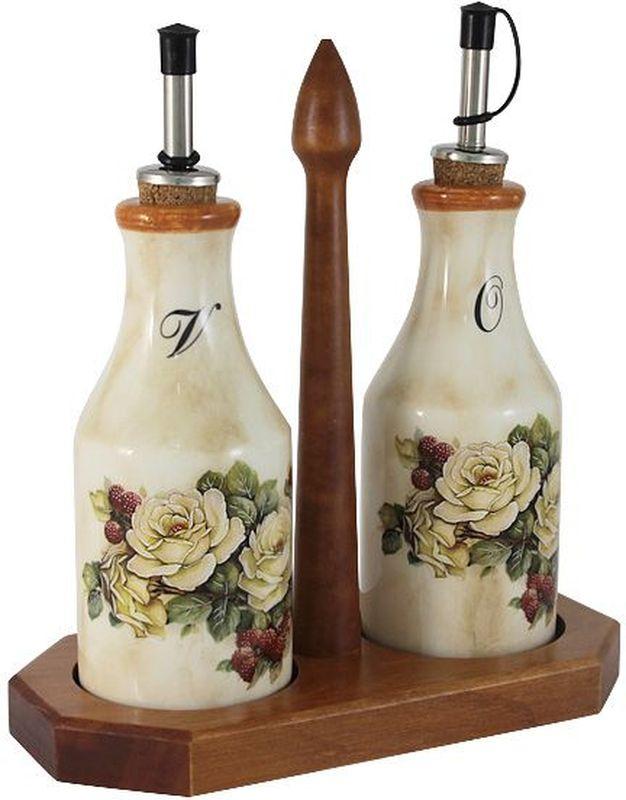 Набор бутылок для масла и уксуса LCS Роза и малина, на подставке, 275 мл, 2 шт54174Набор из 2-х бутылок для масла и уксуса на подставке 0,275л Роза и малинаLCS - молодая, динамично развивающаяся итальянская компания из Флоренции, производящая разнообразную керамическую посуду и изделия для украшения интерьера. В своих дизайнах LCS использует как классические, так и современные тенденции. Высокий стандарт изделий обеспечивается за счет соединения высоко технологичного производства и использования ручной работы профессиональных дизайнеров и художников, работающих на фабрике.