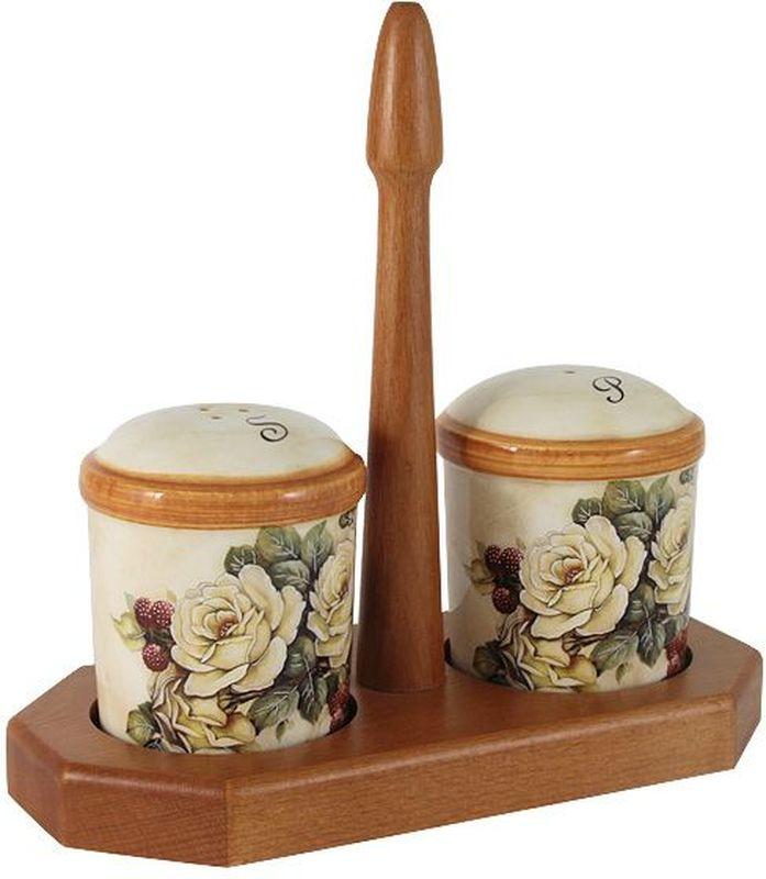 Набор для специй LCS Роза и малина, на подставке, 3 предмета54175Набор для специй LCS Роза и малина, изготовленный из керамики,состоит из солонки и перечницы. Емкости помещаются на специальнуюдеревянную подставку. Солонка и перечница легки в использовании: стоит только перевернуть емкости, и вы слегкостью сможете поперчить или добавить соль по вкусу влюбое блюдо. Набор LCS Роза и малина не только украсит стол, но и станетполезным аксессуаром как на кухне, так и за праздничнымстолом.