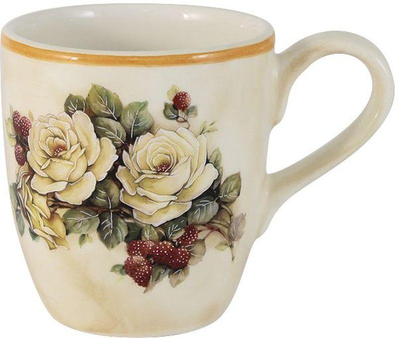 """Кружка """"Роза и малина"""" выполнена из керамики и оформлена ярким цветочным рисунком. Такая кружка идеально впишется в интерьер любой кухни и отлично украсит стол к чаепитию.  Мыть керамическую посуду рекомендуется теплой водой с небольшим количеством моющих средств. Лучше не использовать абразивные пасты и металлические мочалки.  Посуда требует осторожности: защиты от сильного удара или падения."""