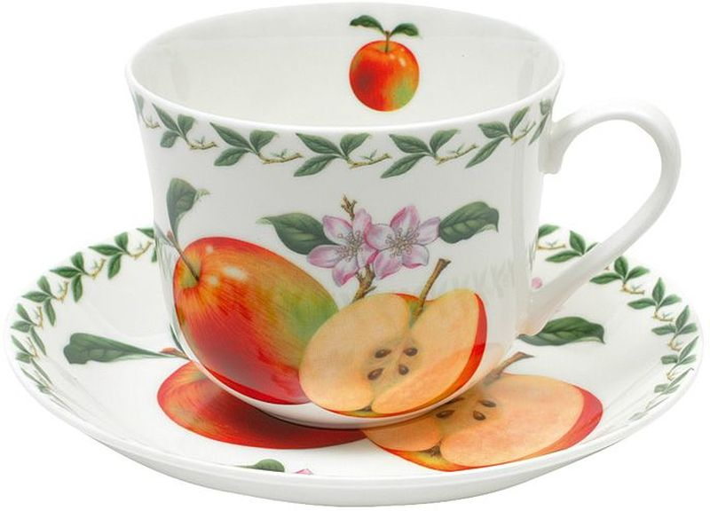 """Чашка с блюдцем Maxwell & Williams """"Яблоко""""- это высокое качество, практичность и красота. Изделия выполнены из костяного, твердого фарфора и помогут создать индивидуальный стиль домашнего интерьера.  Дизайнерскую посуду Maxwell & Williams можно смело ставить в микроволновую печь, холодильник, мыть в посудомоечной машине!  Товары Maxwell & Williams - это образ жизни, который всегда в ногу со временем. Объем чашки: 480 мл."""
