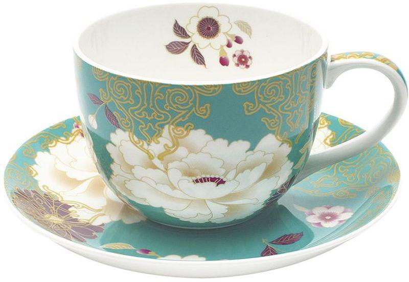 Чашка с блюдцем Maxwell & Williams Кимоно, цвет: бирюза, 250 мл чашка с блюдцем terracotta дерево жизни 200 мл