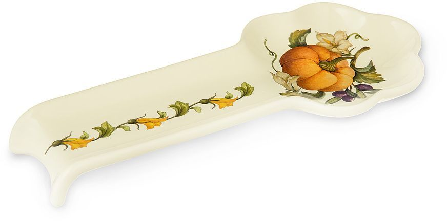 Ложка-подставка Nuova Cer Тыква, цвет: белый, оранжевый, зеленый, 28 см54192Ложка-подставка Nuova Cer Тыква выполнена из керамики, покрытой яркой глазурью, с милой росписью. Это изделие отлично впишется в интерьер вашей кухни и станет приятным подарком для ваших близких.Ложку можно использовать в микроволновой печи и мыть в посудомоечной машине.
