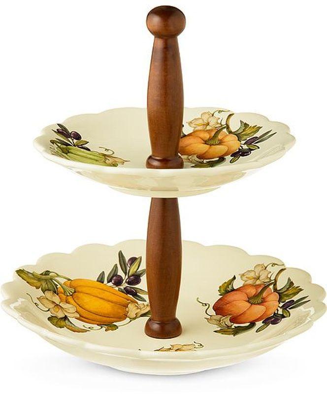 Ваза для фруктов Nuova Cer Тыква, двухъярусная, высота 31 см ваза русские подарки винтаж высота 31 см 123710