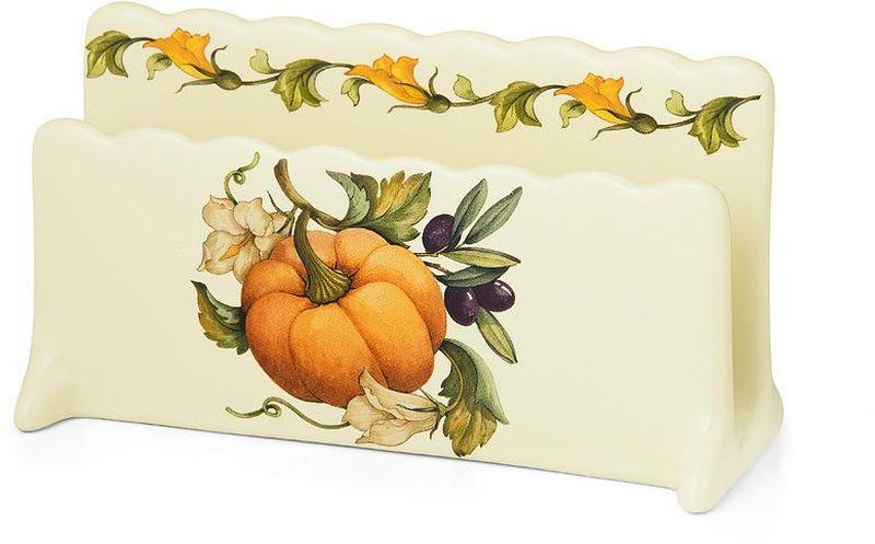 Салфетница изготовлена из керамики и оформлена принтом. Такая салфетница великолепно украсит праздничный стол.