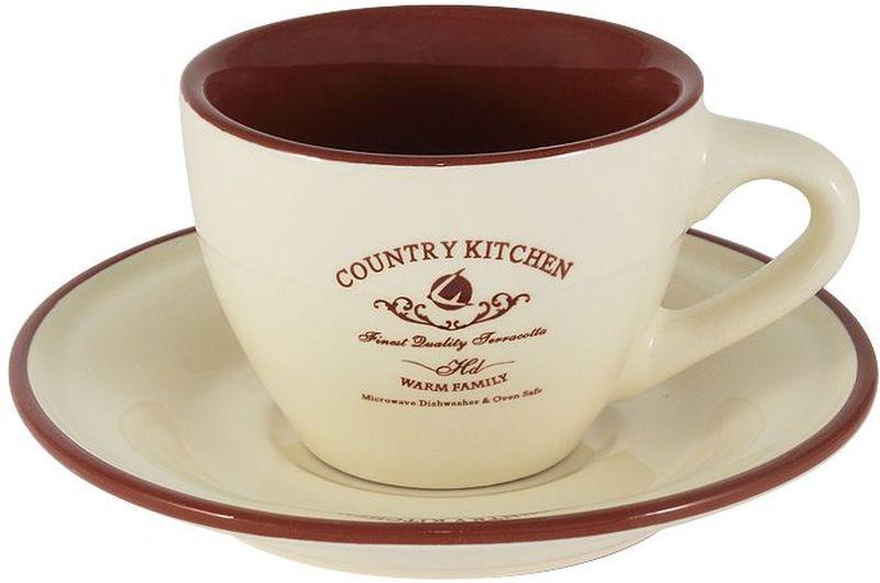 """Чашка с блюдцем 0,2л """"Кухня в стиле """"Кантри""""Торговая марка Terracotta - это коллекции разнообразной посуды для сервировки стола, хранения продуктов и приготовления пищи из жаропрочной керамики, покрытой высококачественной глазурью.  Достоинства керамической посуды, известные во всем мире: отсутствие выделений химических примесей, равномерный нагрев и долгое сохранение температуры позволяют придавать особый аромат пище, сохранять витамины и другие ценные питательные вещества.  Изделия Terracotta идеально подходят для выпечки, приготовления различных блюд и разогревания пищи в духовом шкафу или микроволновой печи. Могут использоваться для хранения продуктов, в том числе в холодильнике.  Мыть керамическую посуду рекомендуется теплой водой с небольшим количеством моющих средств. Лучше не использовать абразивные пасты и металлические мочалки. Допускается мытье в посудомоечной машине при соблюдении инструкции изготовителя посудомоечной машины. Посуда требует осторожности: защиты от сильного удара или падения. В наборах и отдельных предметах используются и другие виды материалов, вышеуказанные рекомендации применимы только к керамическим изделиям.  Посуда торговой марки Terracotta совмещает в себе современные технологии и новые идеи, благодаря чему достигаются высокое качество, разнообразие форм и дизайнов. Упаковка для каждой серии выполнена в фирменном стиле, что делает эту продукцию не только полезным, но и красивым подарком."""