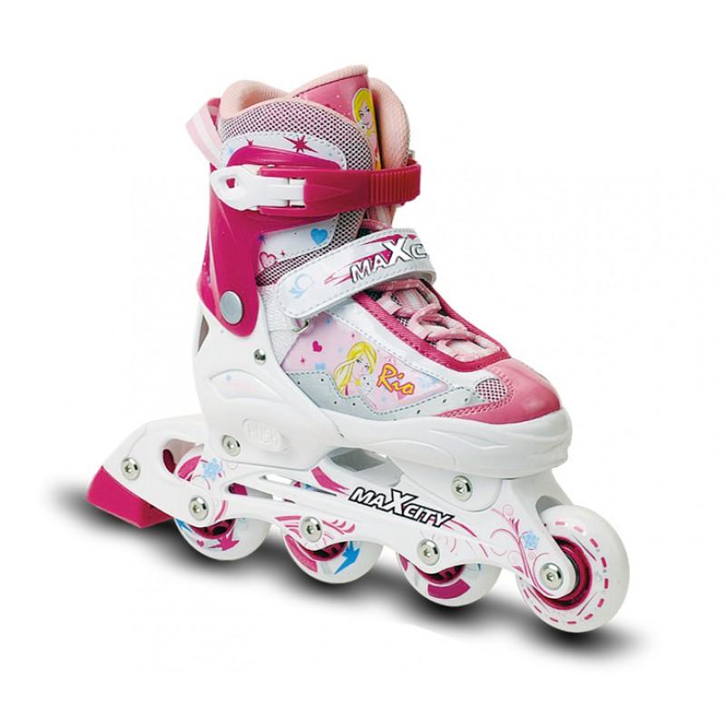 Коньки роликовые для девочки MaxCity Rio, раздвижные, цвет: розовый, белый. Размер 33/36RIOСтильные роликовые коньки Rio от MaxCity с ярким принтом придутся по душе вашему ребенку. Ботинок конька изготовлен по технологии Max Fit из комбинированных синтетических и полимерных материалов, обеспечивающих максимальную вентиляцию ноги. Анатомически облегченная конструкция ботинка из пластика обеспечивает улучшенную боковую поддержку и полный контроль над движением. Подкладка из мягкого текстиля комфортна при езде. Стелька Hi Dri из ЭВА с текстильной поверхностью обеспечивает комфорт и отличную амортизацию. Классическая шнуровка с ремнем на липучке обеспечивает плотное закрепление пятки. На голенище модель фиксируется клипсой с фиксатором. Прочная рама из алюминия отлично передает усилие ноги и позволяет быстро разгоняться. Мягкие полиуретановые колеса обеспечат плавное и бесшумное движение. Износостойкие подшипники класса ABEC 5 наименее восприимчивы к попаданию влаги и песка, а также не позволяют развивать высокую скорость, что очень важно для детей и начинающих роллеров. Конструкция роликовых коньков Push & Pull позволяет быстро и точно изменять их размер без использования инструментов и снятия колес. Кнопочное устройство позволяет раздвигать ботинок на 4 полных размера путем совмещения стрелки на каркасе с соответствующей буквой на подошве ботинка. Задник оснащен текстильной петлей, благодаря которой изделие удобно надевать. В комплект также входят два шестигранных ключа для регулировки колес и один пяточный тормоз.