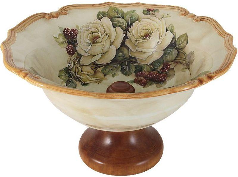 Ваза для фруктов LCS Роза и малина, на ножке, 30 см54157Ваза LCS Роза и малина выполнена из керамики и имеет изысканный внешний вид. Изделие оформлено цветочным принтом и оснащено деревянной ножкой. Ваза отлично подойдет для подачи фруктов. Такая ваза станет ярким украшением интерьера и прекрасным подарком к любому случаю.Диаметр вазы: 30 см.