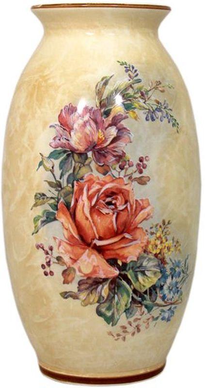 Ваза для цветов LCS Элианто, цвет: бежевый, коричневый, 30 см26482Ваза для цветов LCS Элианто- керамическая ваза выполнена в бежево-коричневой гамме с нанесением нежного декора с цветочными мотивами. Ваза для цветов LCS Элианто украсит сервировку вашего стола, а также может стать отличным подарком. LCS - молодая, динамично развивающаяся итальянская компания из Флоренции, производящая разнообразную керамическую посуду и изделия для украшения интерьера.