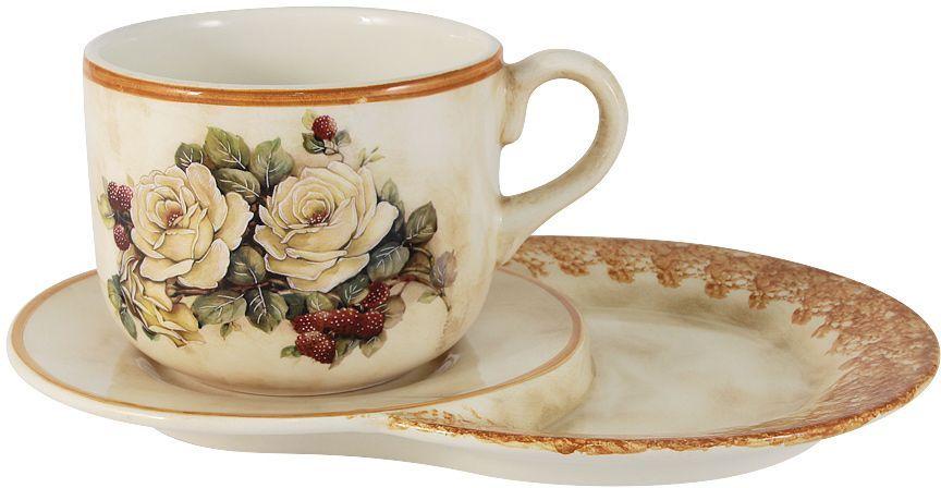 """Чашка на маленьком подносе LCS """"Роза и малина"""", 500 мл"""