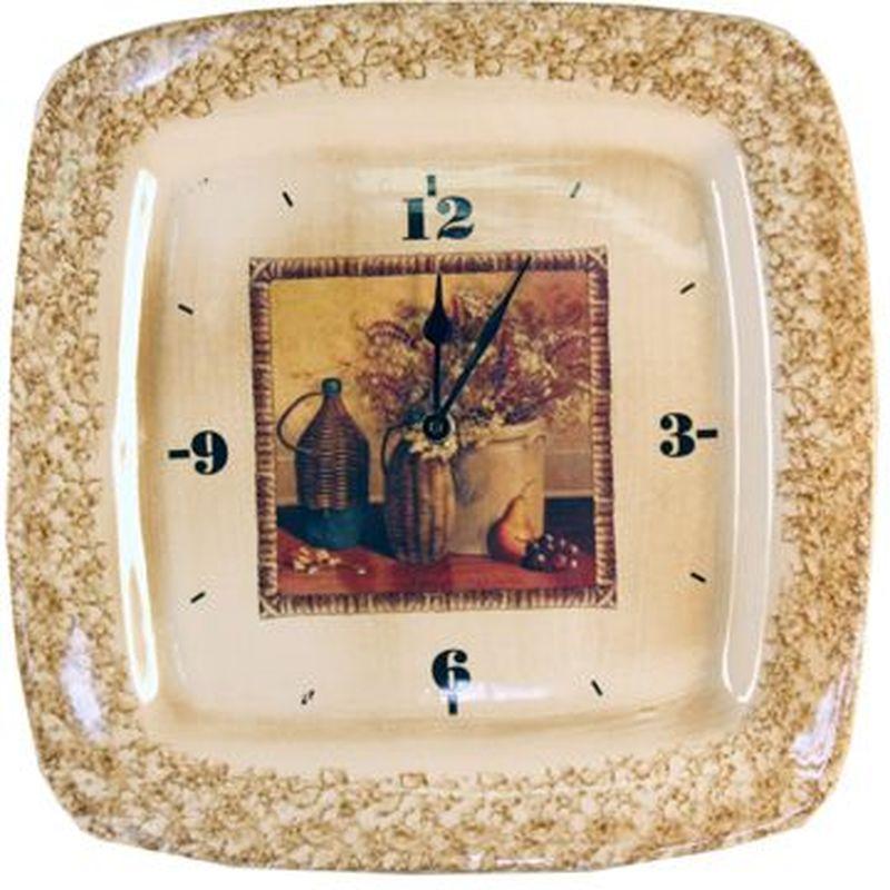 Настенные часы LCS Натюрморт14392;14392Настенные часы LCS Натюрморт стильно оформят интерьер кухни, гостиной или дачи. Часы вквадратном корпусе изготовлены из глазурованной керамики с красочным изображением. С задней стороны расположена петля для подвешивания на стену.Часы работают от одной батарейки типа АА (в комплект не входит).