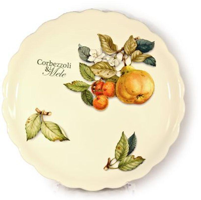 Тарелка обеденная Nuova Cer Итальянские фрукты, диаметр 26,5 см34111Обеденная тарелка круглой формы Nuova Cer Итальянские фрукты изготовлена из высококачественной керамики бежевого цвета. Изделие оформлено красочным изображением фруктов. Края изделия волнистые. Предназначена для сервировки закусок и различных блюд, а также для подачи вторых блюд.Изящная тарелка прекрасно оформит стол и порадует вас лаконичным и ярким дизайном.Можно использовать в СВЧ и мыть в посудомоечной машине.