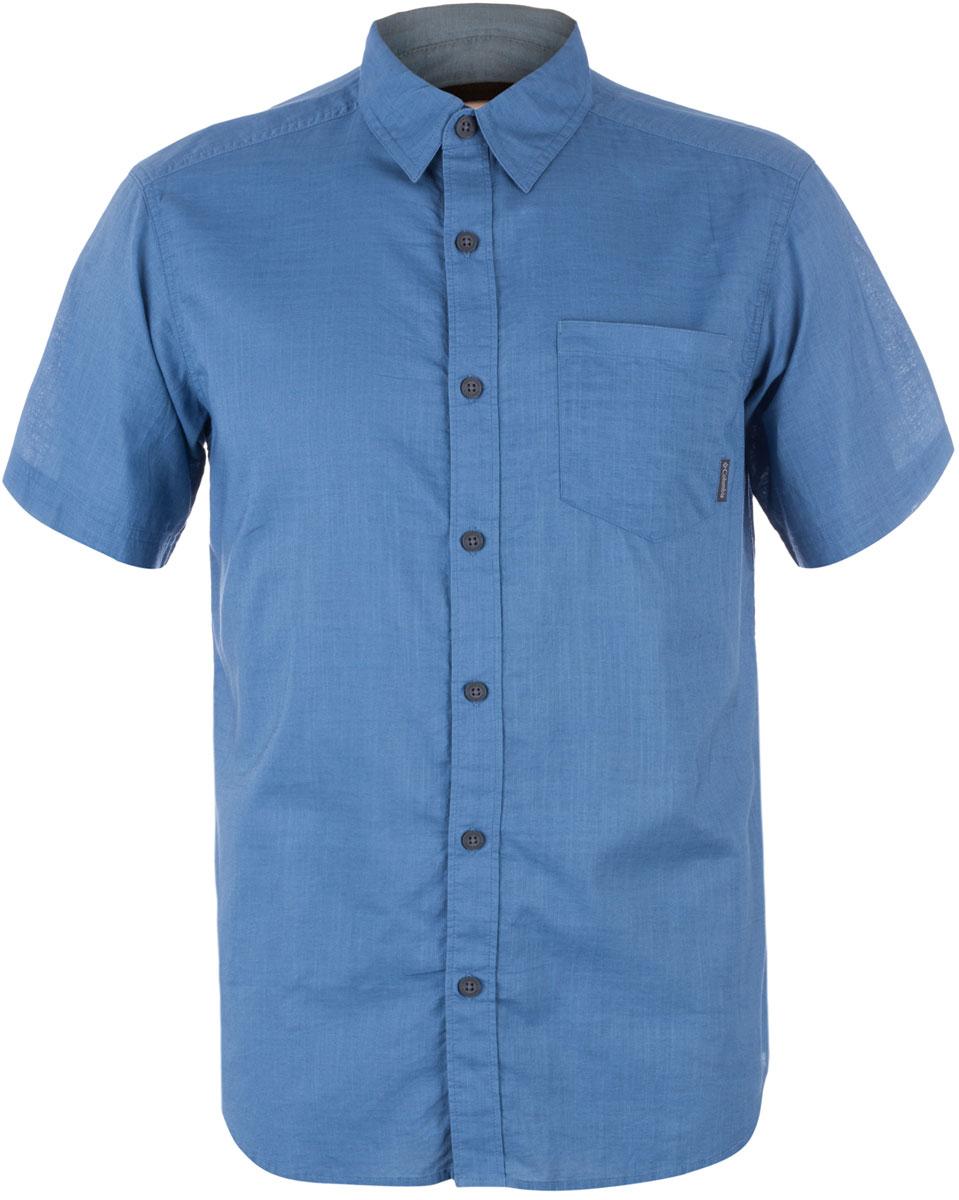 Рубашка мужская Columbia Cape Side Solid SS, цвет: синий. 1715241-413. Размер S (44/46) футболка мужская umbro armada jersey ss цвет синий белый 120115 размер s 46