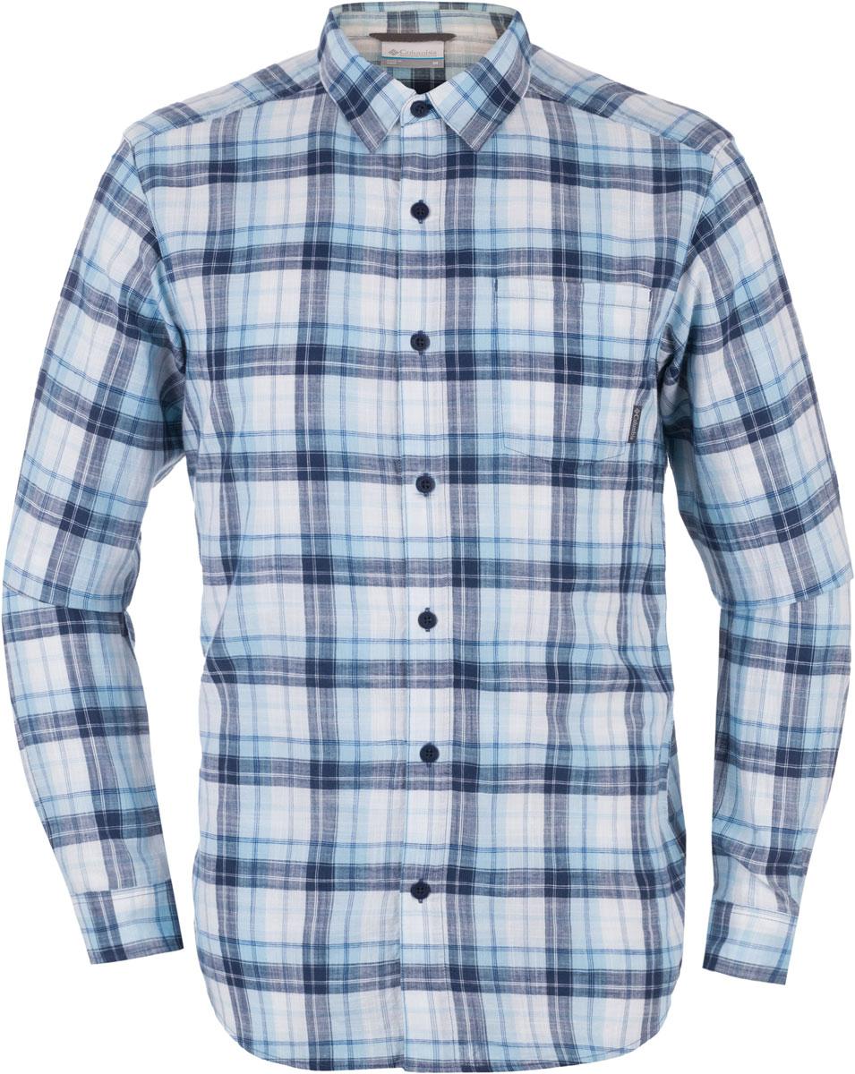 Рубашка мужская Columbia Under Exposure LS, цвет: темно-синий, голубой, белый. 1715231-493. Размер M (46/48) under armour un001ebtvm57