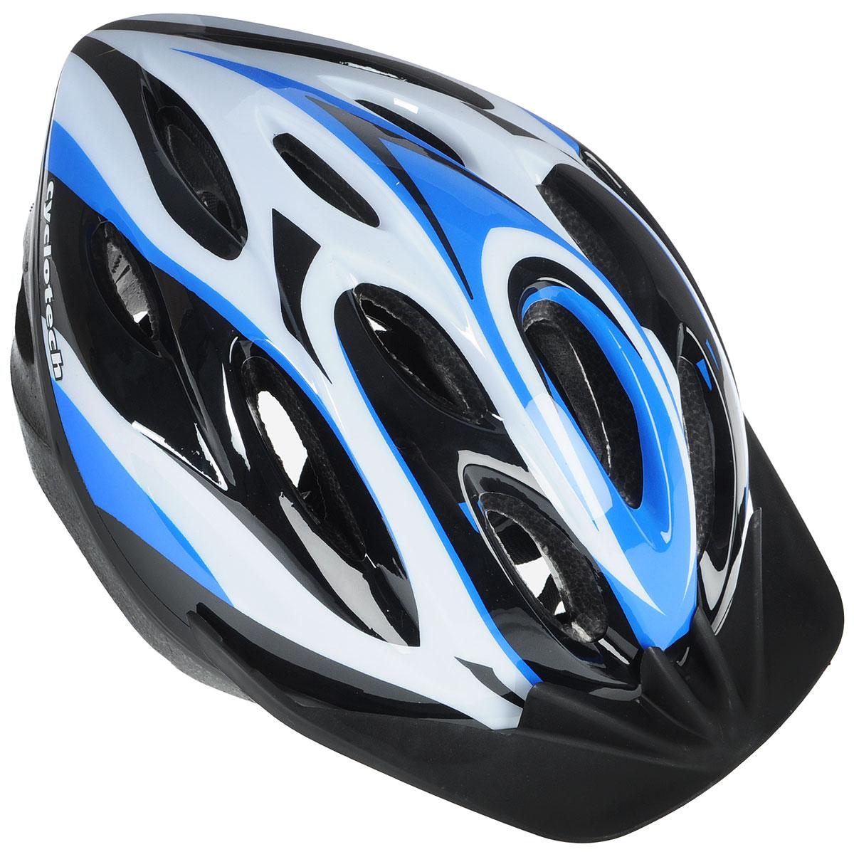Шлем велосипедный Cyclotech, цвет: черный, синий, белый. Размер LCHLO-14MШлем Cyclotech изготовлен по технологии OutMold, которая обеспечивает хорошее сочетание невысокой цены и достаточной технологичности. Увеличенное количество вентиляционных отверстий обеспечивает отличную циркуляцию воздуха на любой скорости при сохранении жесткости шлема. Верхняя часть изделия выполнена из прочного пластика, внутренняя - пенополистирол. Шлем снабжен универсальным внутренним настроечным кольцом и регулируемыми текстильными ремешками. Шлем соответствует международным стандартам безопасности и надежности.