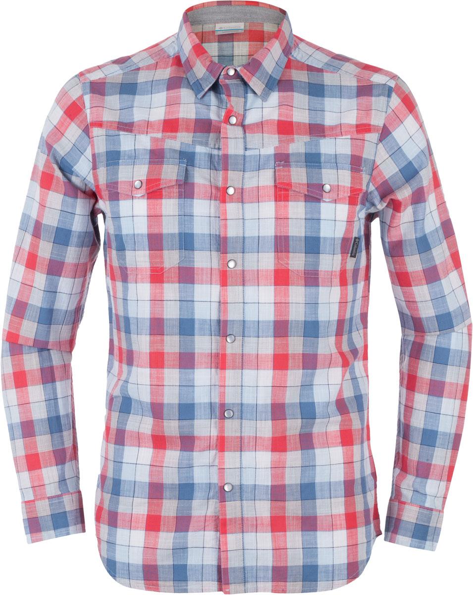 Рубашка мужская Columbia Leadville Range LS, цвет: красный, белый, голубой. 1657653-413. Размер S (44/46)1657653-413Мужская рубашка Columbia Leadville Range LS изготовлена из натурального хлопка. Модель Slim Fit с отложным воротником и длинными рукавами застегивается на кнопки. Спереди расположены нагрудные карманы с клапанами на кнопках. Изделие оформлено принтом в клетку.