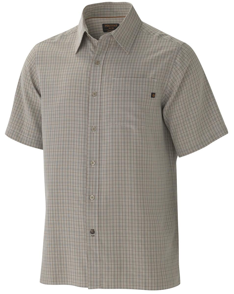 Рубашка мужская Marmot Eldridge SS, цвет: светло-серый. 62220-3088. Размер XL(52/54)62220-3088Симпатичная рубашка с коротким рукавом Eldridge SS быстро станет любимой вещью в вашем гардеробе, а также обеспечит надежную защиту от вредного воздействия ультрафиолетового излучения. Смесовая ткань необычайно приятна на ощупь, а рисунок хорошо сочетается с любыми вещами.