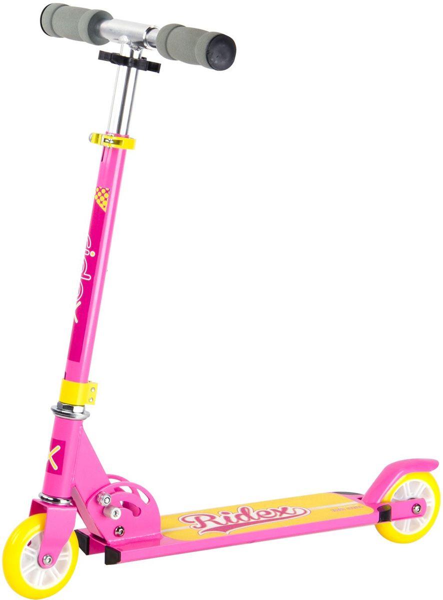 Самокат Ridex Glamour, 2-колесный, цвет: розовый, желтый, 100 ммУТ-00009701Самокат бренда Ridex с колёсами 100 миллиметров – наиболее подходящая модель для езды по ровной поверхности, ориентированная на юных любителей катания. Сочетание ярких цветов самоката Glamour не оставит равнодушной ни одну подрастающую модницу! Самокат отличается надежностью конструкции и маневренностью: небольшие колеса с качественными подшипниками ABEC - 7 обеспечат развитие безопасной скорости, мягкие пенные ручки гарантируют приятное, комфортное сцепление с ладонями.