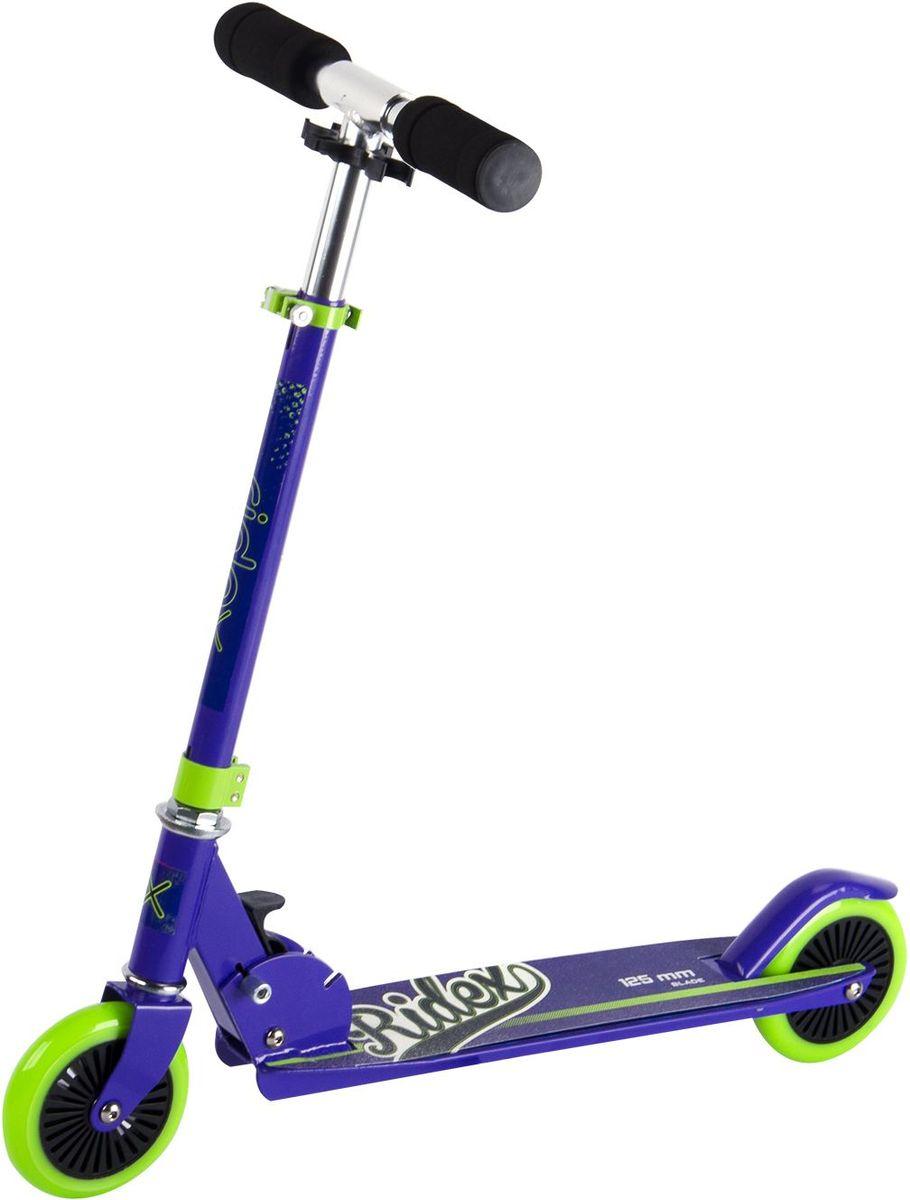 Самокат Ridex Blade, 2-колесный, цвет: фиолетовый, салатовый, 125 мм самокат ridex drifter 100