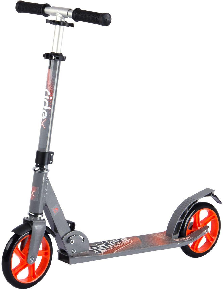 Самокат Ridex Shadow, 2-колесный, цвет: серый, оранжевый, 180 ммУТ-00009708Модель самоката бренда Ridex подходит как подрастающим, так и взрослым райдерам для катания по ровным асфальтированным дорожкам и мелкой плитке, благодаря полиуретановым колесам, диаметр которых 180 миллиметров. Большие колеса, которые укомплектованы качественными подшипниками ABEC – 7, позволяют преодолевать длительные расстояния, наслаждаясь процессом катания. Прочная алюминиевая конструкция обеспечивает надежность и износостойкость самоката, а удобные резиновые ручки создают прочное сцепление с ладонями. Стильный, сдержанный дизайн отлично впишется в городскую среду!Максимальная высота руля: 91 см.Минимальная высота руля: 71 см.Размеры платформы: 55 x 11 см.Диаметр колеса: 18 см.Рекомендуемый возраст: от 5 лет.