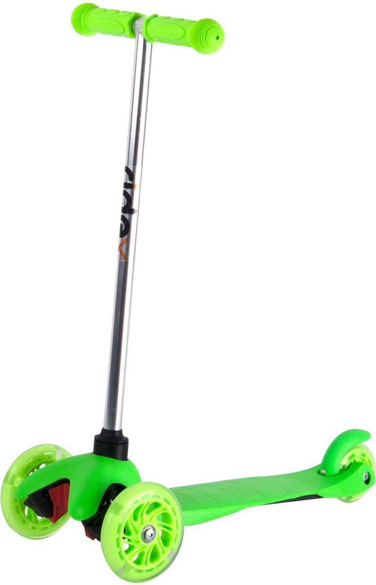 Самокат Ridex 3D Kinder, 3-колесный, цвет: зеленый, 120/80 мм. УТ-00009718УТ-00009718Трехколесный самокат бренда Ridex создан для детей, только начинающих осваивать данный способ передвижения. Благодаря устойчивости самоката ребенку не надо контролировать равновесие, а можно сосредоточиться на таких навыках, как отталкивание ногой, управление рулём и торможение. Прочная пластиковая дека обеспечит комфортное катание, а резиновые ручки поспособствуют прочному сцеплению с ладонями. Светящиеся колёса, без сомнений, станут поводом для искренней детской радости и восторженных взглядов окружающих!