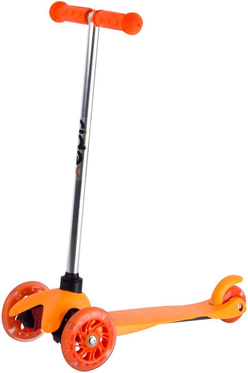 Самокат Ridex 3D Kinder, 3-колесный, цвет: оранжевый, 120/80 мм. УТ-00009721УТ-00009721Трехколесный самокат бренда Ridex создан для детей, только начинающих осваивать данный способ передвижения. Благодаря устойчивости самоката ребенку не надо контролировать равновесие, а можно сосредоточиться на таких навыках, как отталкивание ногой, управление рулём и торможение. Прочная пластиковая дека обеспечит комфортное катание, а резиновые ручки поспособствуют прочному сцеплению с ладонями. Светящиеся колёса, без сомнений, станут поводом для искренней детской радости и восторженных взглядов окружающих!