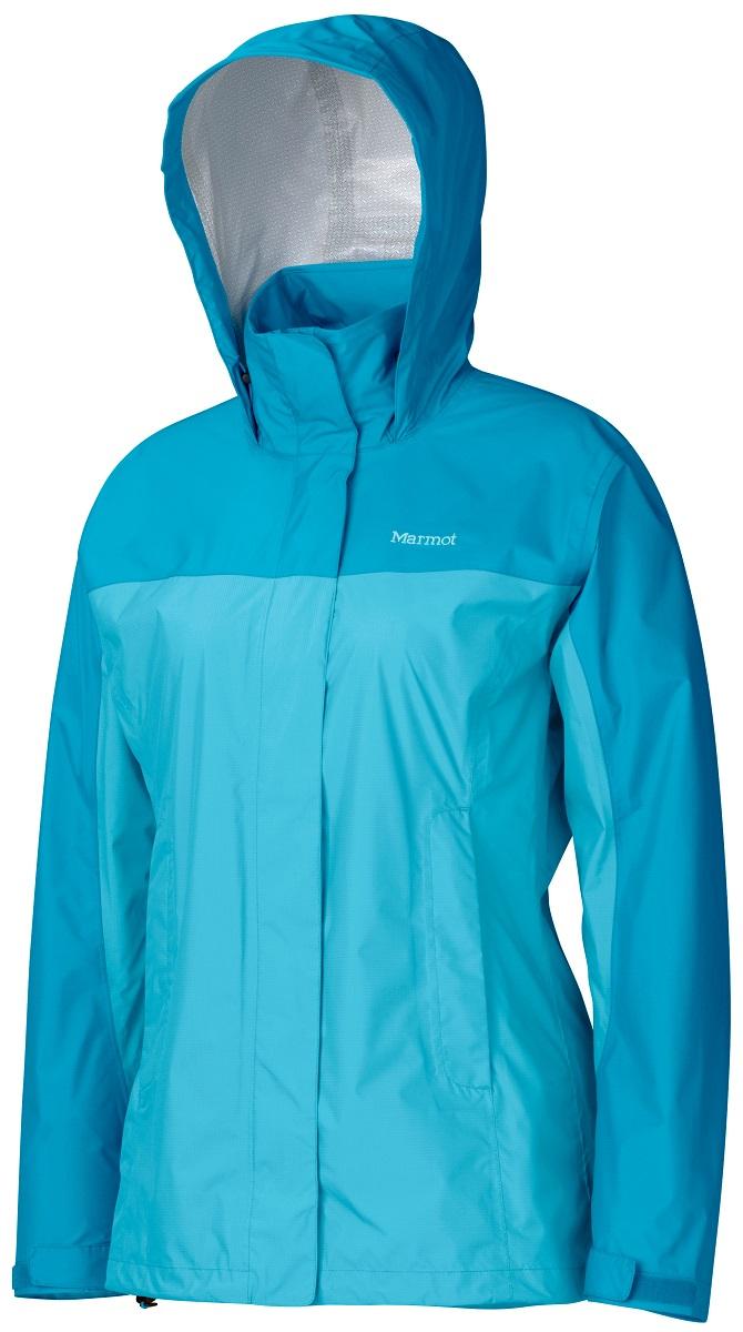 Дождевик женский Marmot Wms PreCip Jacket, цвет: голубой. 46200-2932. Размер M(48/50)46200-2932Дождевик Wm`s PreCip Jacket создан специально для женщин. Бесспорный хит продаж. Этот легкий дождевик не подведет вас и защитит от дождя и влаги летом и в межсезонье. Технология PreCip™ Dry Touch - водостойкий, дышащий материал, 100% водонепроницаемые швы, капюшон имеет возможность хорошего обзора и при необходимости убирается в воротник - двусторонние молнии в районе подмышек обеспечивают отличную вентиляцию. Низ куртки регулируется эластичным шнуром – для универсальности в любую непогоду.