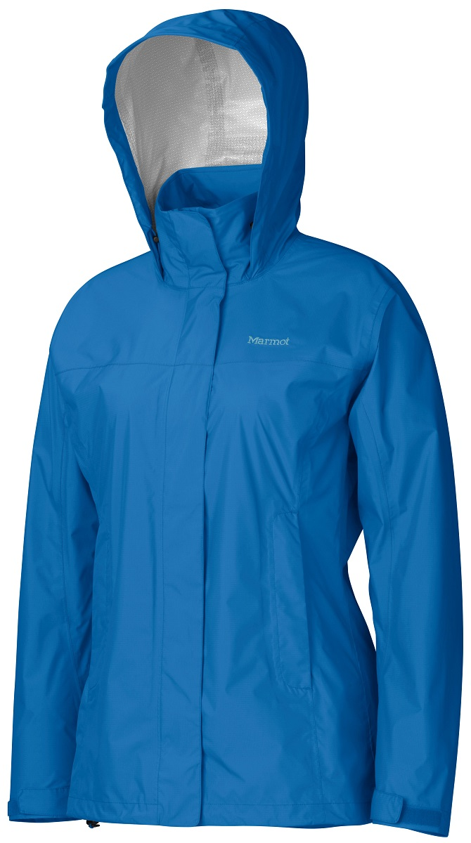Дождевик женский Marmot Wms PreCip Jacket, цвет: синий. 46200-2421. Размер M(48/50)46200-2421Дождевик Wm`s PreCip Jacket создан специально для женщин. Бесспорный хит продаж. Этот легкий дождевик не подведет вас и защитит от дождя и влаги летом и в межсезонье. Технология PreCip™ Dry Touch - водостойкий, дышащий материал, 100% водонепроницаемые швы, капюшон имеет возможность хорошего обзора и при необходимости убирается в воротник - двусторонние молнии в районе подмышек обеспечивают отличную вентиляцию. Низ куртки регулируется эластичным шнуром – для универсальности в любую непогоду.