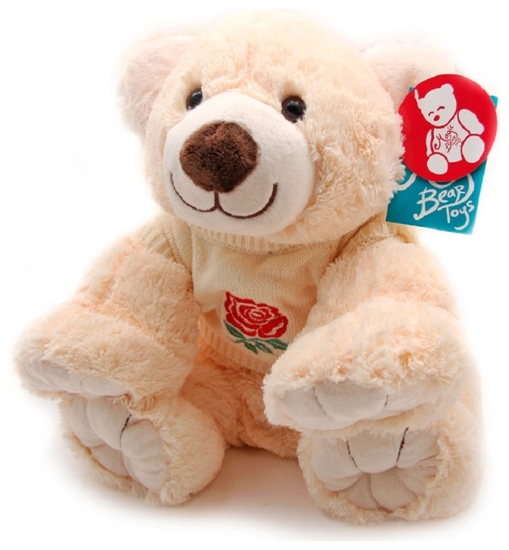 Magic Bear Toys Мягкая игрушка Мишка в свитере цвет свитера молочный 35 см