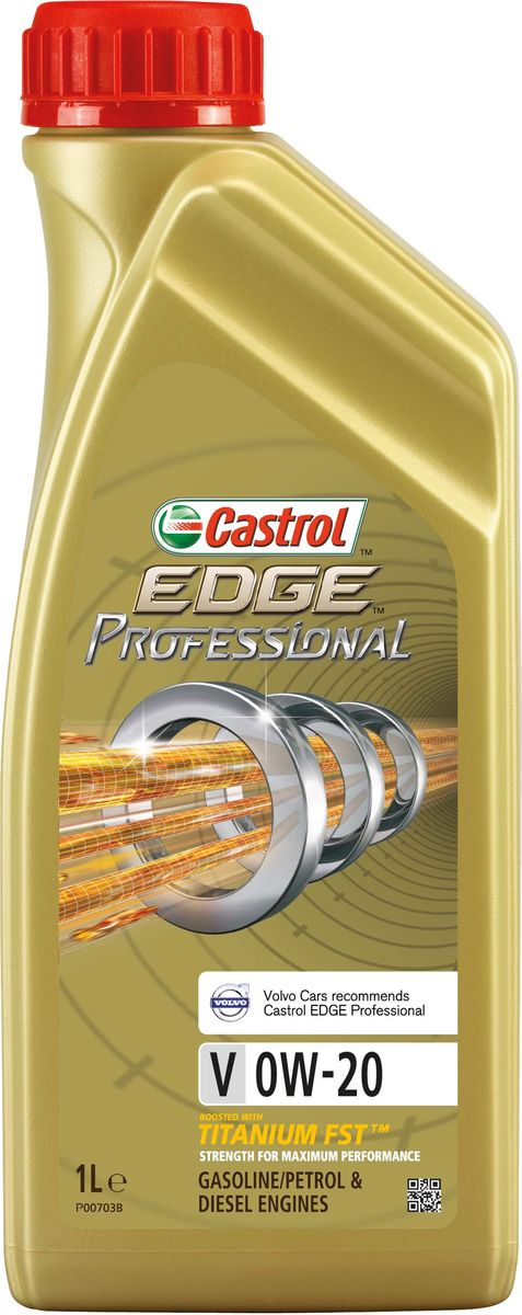 Масло моторное Castrol Edge Professional, синтетическое, V 0W-20, 1 л156E6AПолностью синтетическое моторное масло Castrol Edge Professional произведено с использованием новейшей технологии Titanium FST™. Технология Titanium FST™ на физическом уровне меняет поведение масла Castrol Edge Professional в условиях экстремальных нагрузок. Основой технологии Titanium FST™ являются полимерные металлоорганические соединения, содержащие титан. Таким образом, титан становится компонентом масла и работает в унисон с технологией усиленной масляной плёнки Fluid Strength Technology (FST™), которая была внедрена в 2011 году. Испытания подтвердили, что Titanium FST™ в 2 раза увеличивает прочность масляной плёнки, предотвращая её разрыв и снижая трение для максимальной производительности двигателя. Используя опыт сотрудничества с автопроизводителями, применили такую же технологию, которая ранее использовалась только при производстве масла для конвейерной заливки. Моторное масло Castrol Edge Professional прошло многоуровневую микрофильтрацию. Контроль качества осуществляется с использованием новой технологии оптического измерения частиц Castrol - Optical Particle Measurement System (OPMS). Castrol Edge Professional - первое в мире масло, сертифицированное как CO2- нейтральное в соответствии с мировыми стандартами. Применение. Castrol Edge Professional V 0W-20 предназначено для использования в бензиновых двигателях автомобилей, в которых производитель агрегата предписывает применять моторные масла, одобренные согласно спецификации Volvo VCC RBS0-2AE в классе вязкости SAE 0W-20. Volvo Cars рекомендует моторные масла Castrol EDGE Professional. Преимущества. Castrol Edge Professional V 0W-20 обеспечивает надёжную и максимально эффективную работу современных высокотехнологичных двигателей, которые работают в условиях ужесточённых допусков производителей техники, требующих использования маловязких масел. Castrol Edge Professional V 0W-20: - поддерживает максимальную эффективность работы двиг