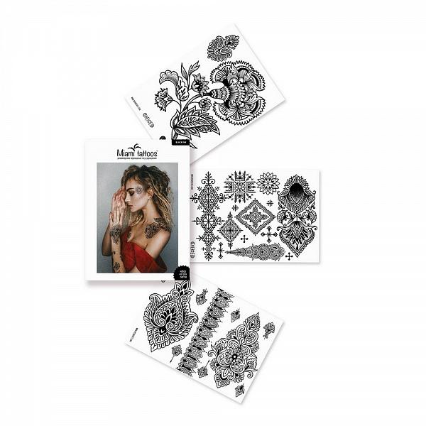 Переводные тату Miami Tattoos Black Ink, 3 листа 20см*15смMT0043Miami Tattoos - это дизайнерские переводные тату-украшения. Для набора переводных татуировок Black Ink татуировщица из Москвы Алиса Чекед, известная своими уникальными этническими узорами, нарисовала тату, которые так любит - цветы и замысловатые орнаменты вдохновлены Марокко. Для производства Miami Tattoos используются только качественные,?яркие?и?стойкие?краски. Они?не вызывают аллергию идержатся?до семи?дней!