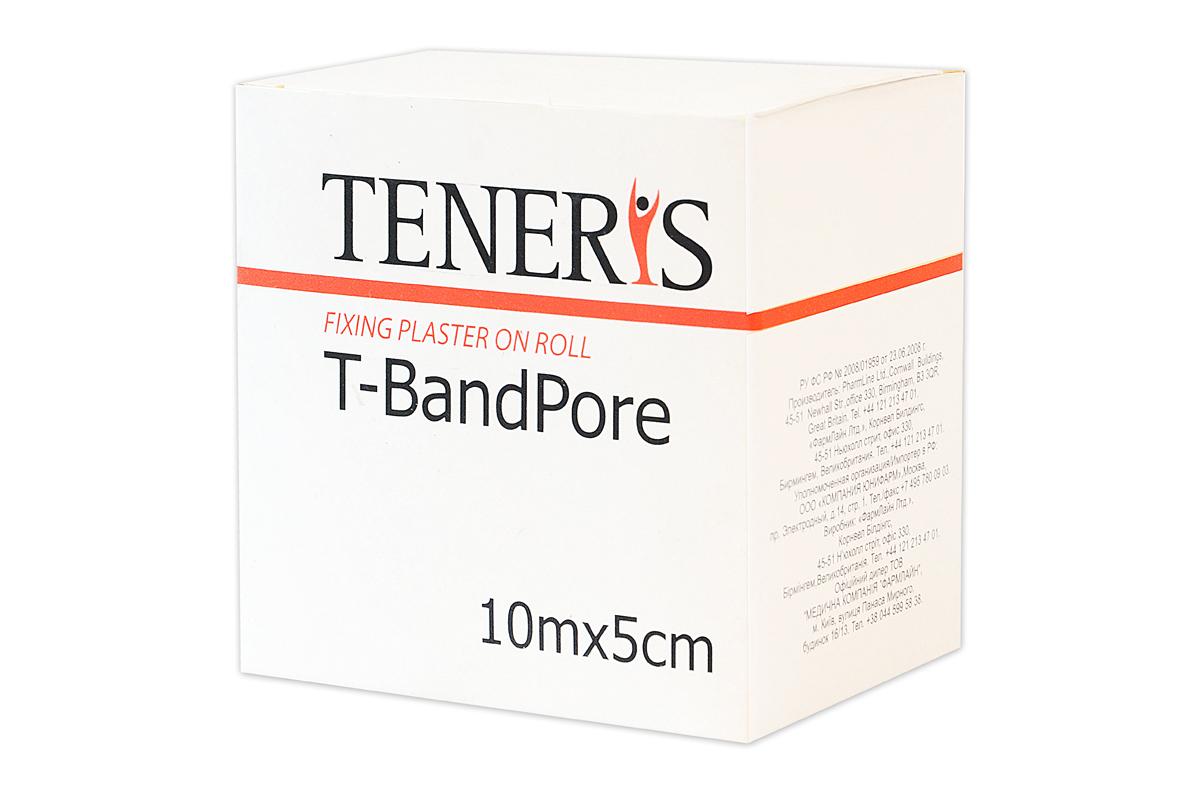 Teneris Адгезивный бинт на нетканной основе T-BandPore, д 75 х ш 50 х в 7595070Т-БендПор - фиксирующий пластырь в рулоне на основе хирургического нетканного материала. При наложении повторяет контуры частей тела, не нарушает подвижность суставов. Обладает высокой паро- и воздухопроницаемостью. Показания: для фиксации защитных повязок, тампонов, зондов и катеторов. Гипоаллергенный полиакрилатный клей отрывается без боли. Применение: отрезать необходимую часть пластыря, снять защитные полоски с клеевой поверхности и зафиксировать повязку. Менять ежедневно или по мере необходимости. Размер 10м х 5см