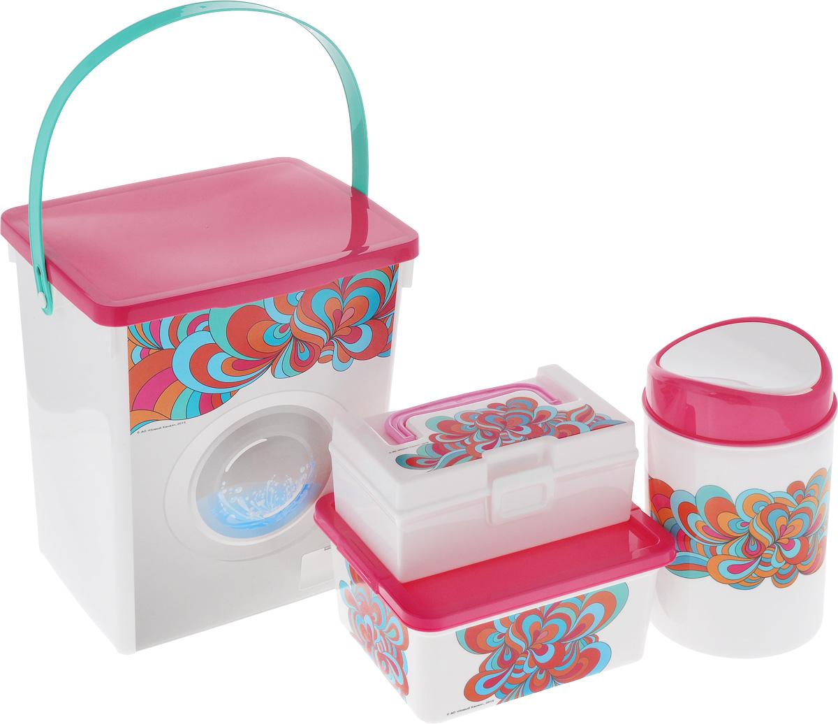 Набор контейнеров для хранения Полимербыт Домашний, цвет: белый, розовый, 4 шт. SGHPBKP42SGHPBKP42Комплект Полимербыт Домашний подходит для хранения различных предметов, изготовлен из качественного пластика и оформлен принтом с узорами. Комплект включает в себя четыре предмета: контейнер для мусора, контейнер для мелочей с удобной пластиковой ручкой и вкладышем, коробка для мелочей и один контейнер для стирального порошка . Многофункциональный комплект, пригодится в быту для любых случаев. Удобные в использовании и хранении. Объём контейнера для мусора: 1,6 л.Объём контейнера для мелочей: 0,8 л. Объём коробки для мелочей: 1,9 л. Объём контейнера для стирального порошка: 8,5 л.