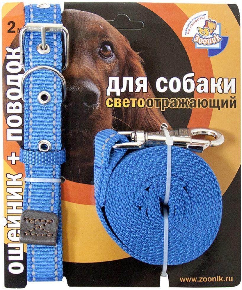 Комплект для собак Зооник, со светоотражающей лентой, цвет: синий, 2 предмета. 1352-31352-3Комплект для собак Зооник, включающий в себя: ошейник, со светоотражающей лентой и поводок, идеально подходит для прогулок в темное время суток.Длина поводка - 2 м.Ширина ленты ошейника - 25 мм. Размер ошейника - 37-51 см