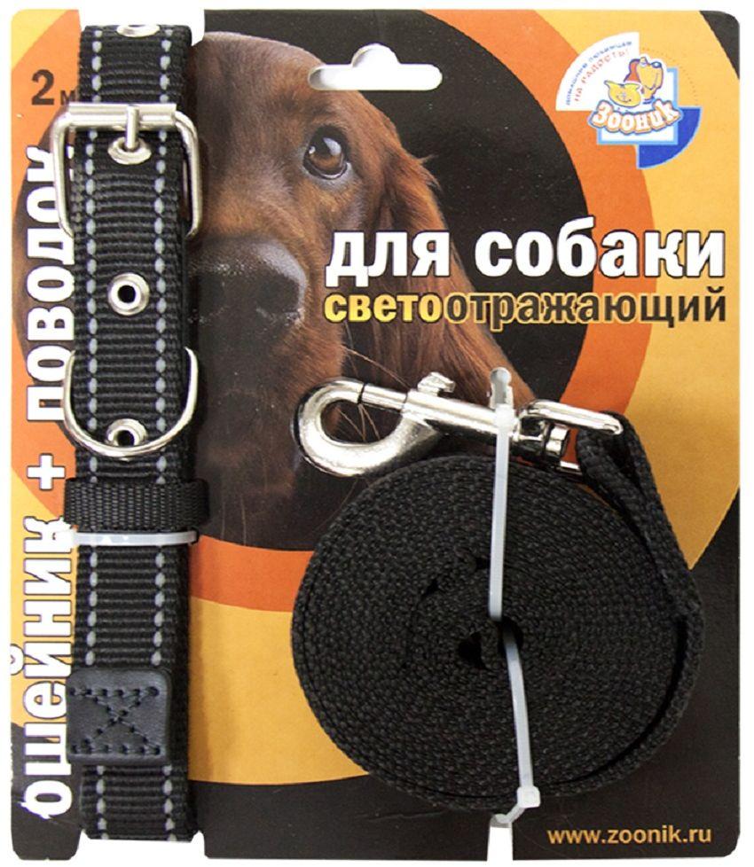 Комплект для собак Зооник, со светоотражающей лентой, цвет: черный, 2 предмета. 13521352Комплект для собак Зооник, включающий в себя: ошейник, со светоотражающей лентой и поводок, идеально подходит для прогулок в темное время суток. Длина поводка - 2 м. Ширина ленты ошейника - 25 мм.Размер ошейника - 37-51 см