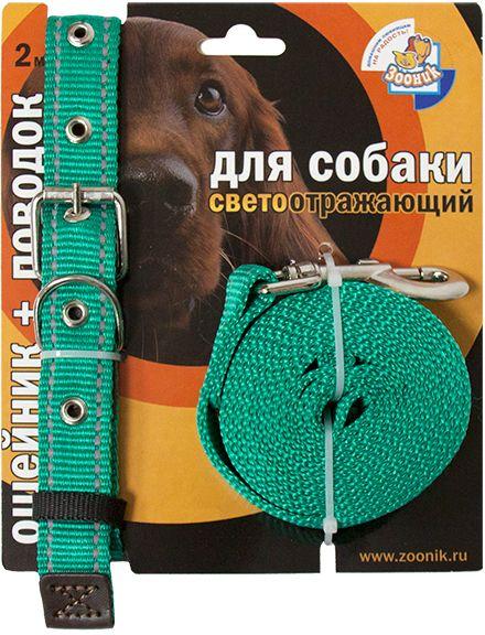 Комплект для собак Зооник, со светоотражающей лентой, цвет: зеленый, 2 предмета1354-1Комплект для собак Зооник, включающий в себя: ошейник, со светоотражающей лентой и поводок, идеально подходит для прогулок в темное время суток. Длина поводка - 2 м. Ширина ленты ошейника - 20 мм.Размер ошейника - 33-47 см