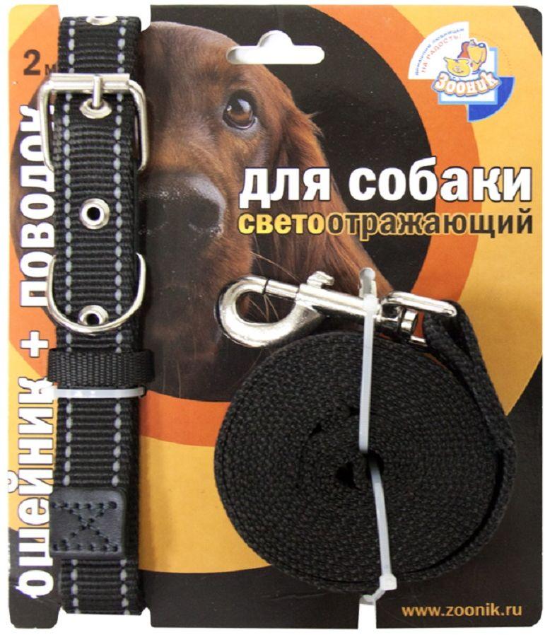 Комплект для собак Зооник, со светоотражающей лентой, цвет: черный, 2 предмета. 13541354Комплект для собак Зооник, включающий в себя: ошейник, со светоотражающей лентой и поводок, идеально подходит для прогулок в темное время суток. Длина поводка - 2 м. Ширина ленты ошейника - 20 мм.Размер ошейника - 33-47 см