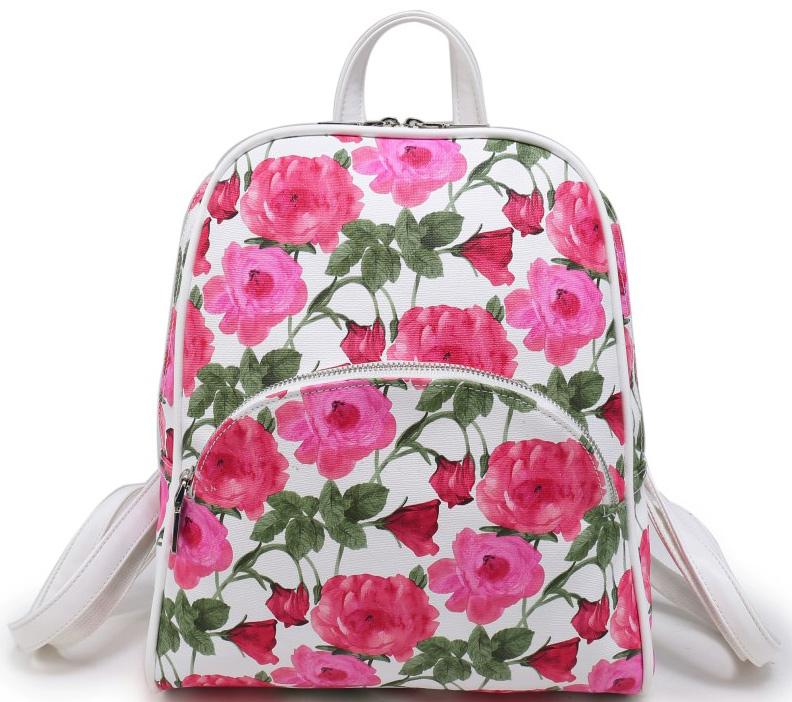 Рюкзак женский OrsOro, цвет: белый, розовый, зеленый. D-241/67