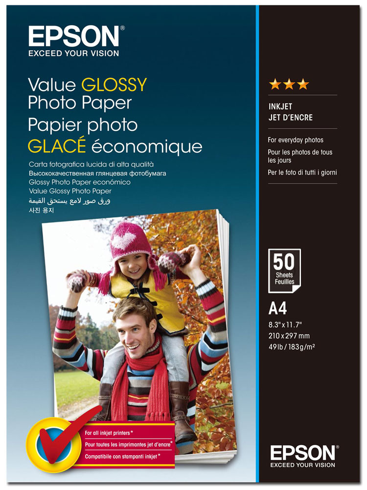 Epson C13S400036 Value Glossy фотобумага A4, 50 листов epson фотобумага струйная печатная бумага