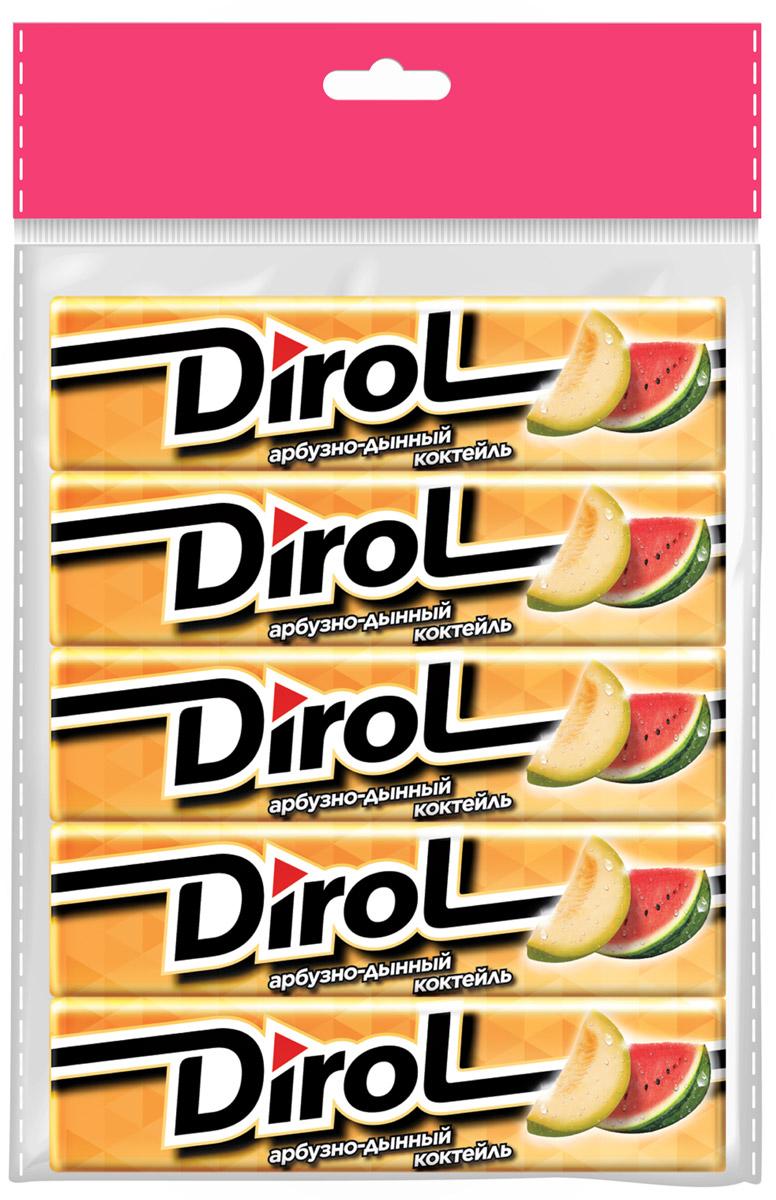 Dirol Жевательная резинка Арбузно-Дынный коктейль, 5 шт по 13,6 г dirol жевательная резинка арбузно дынный коктейль без сахара 30 пачек по 13 6 г
