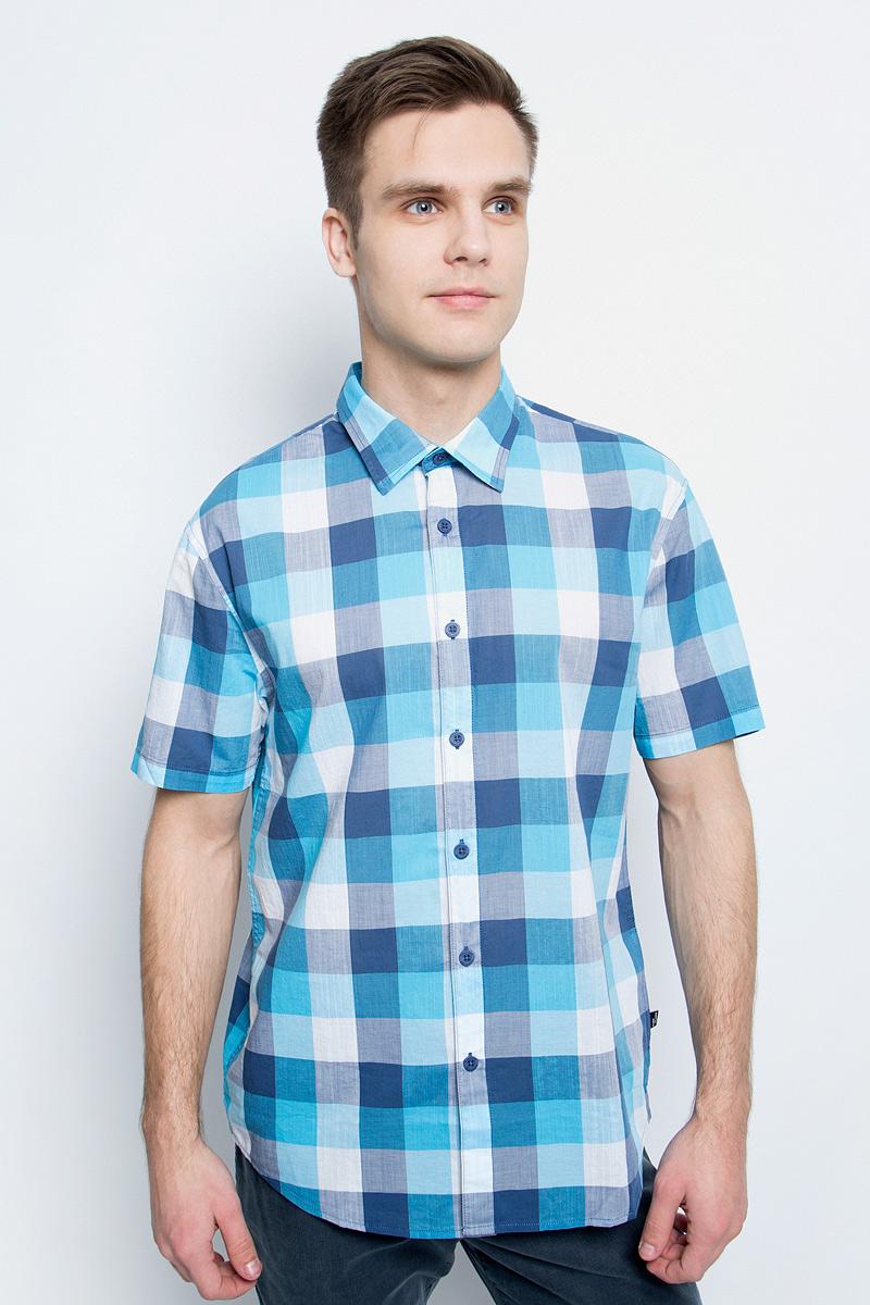 цена на Рубашка мужская Finn Flare, цвет: темно-синий. S17-24012_101. Размер S (46)