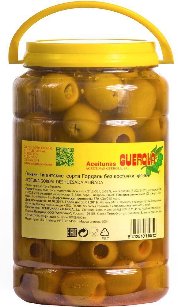 Guerola оливки зеленые Годаль пряные калибр 80/100 без косточки, 600 г delphi оливки без косточки в рассоле colossal 121 140 820 г