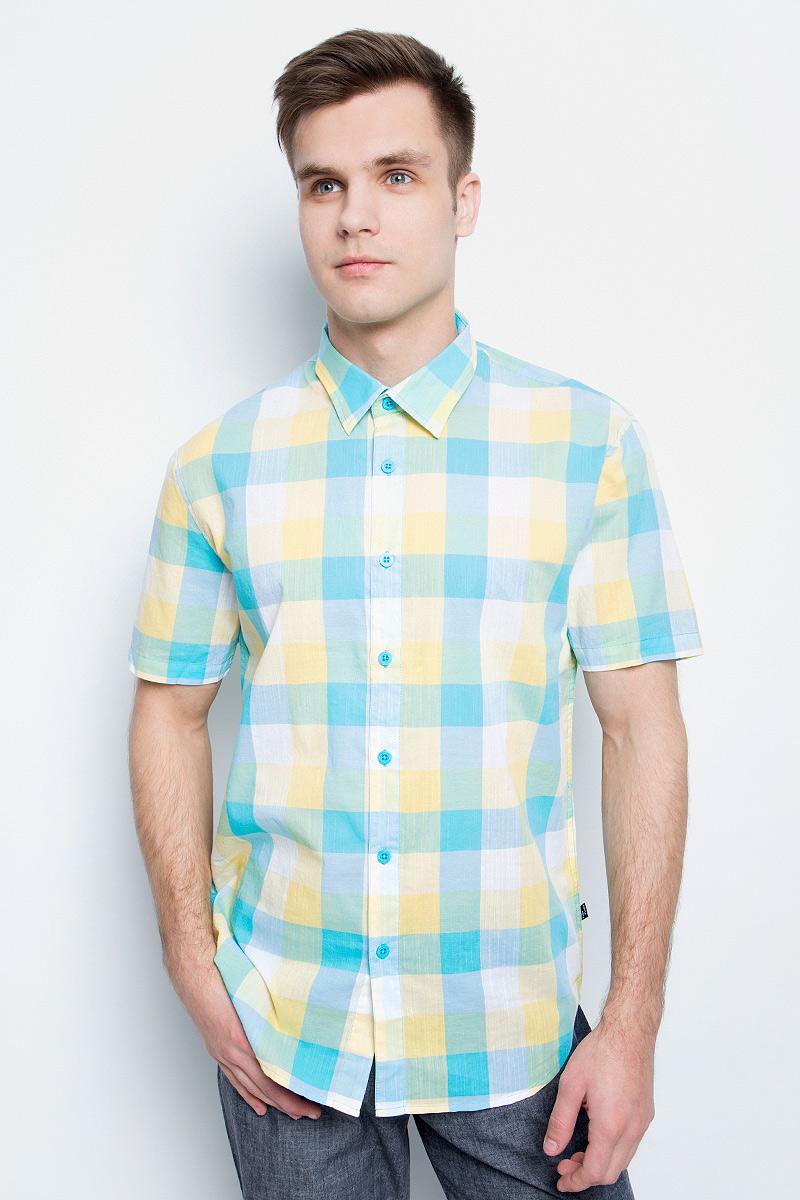 цена на Рубашка мужская Finn Flare, цвет: бирюзовый. S17-24012_133. Размер S (46)