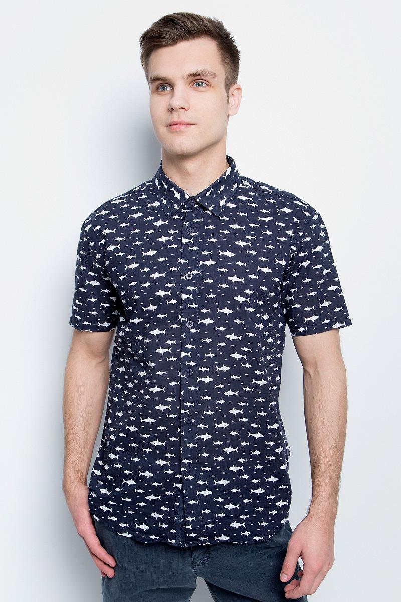 Рубашка мужская Finn Flare, цвет: темно-синий. S17-24038_101. Размер XXL (54) блузка женская finn flare цвет темно синий s17 12040 101 размер xxl 52