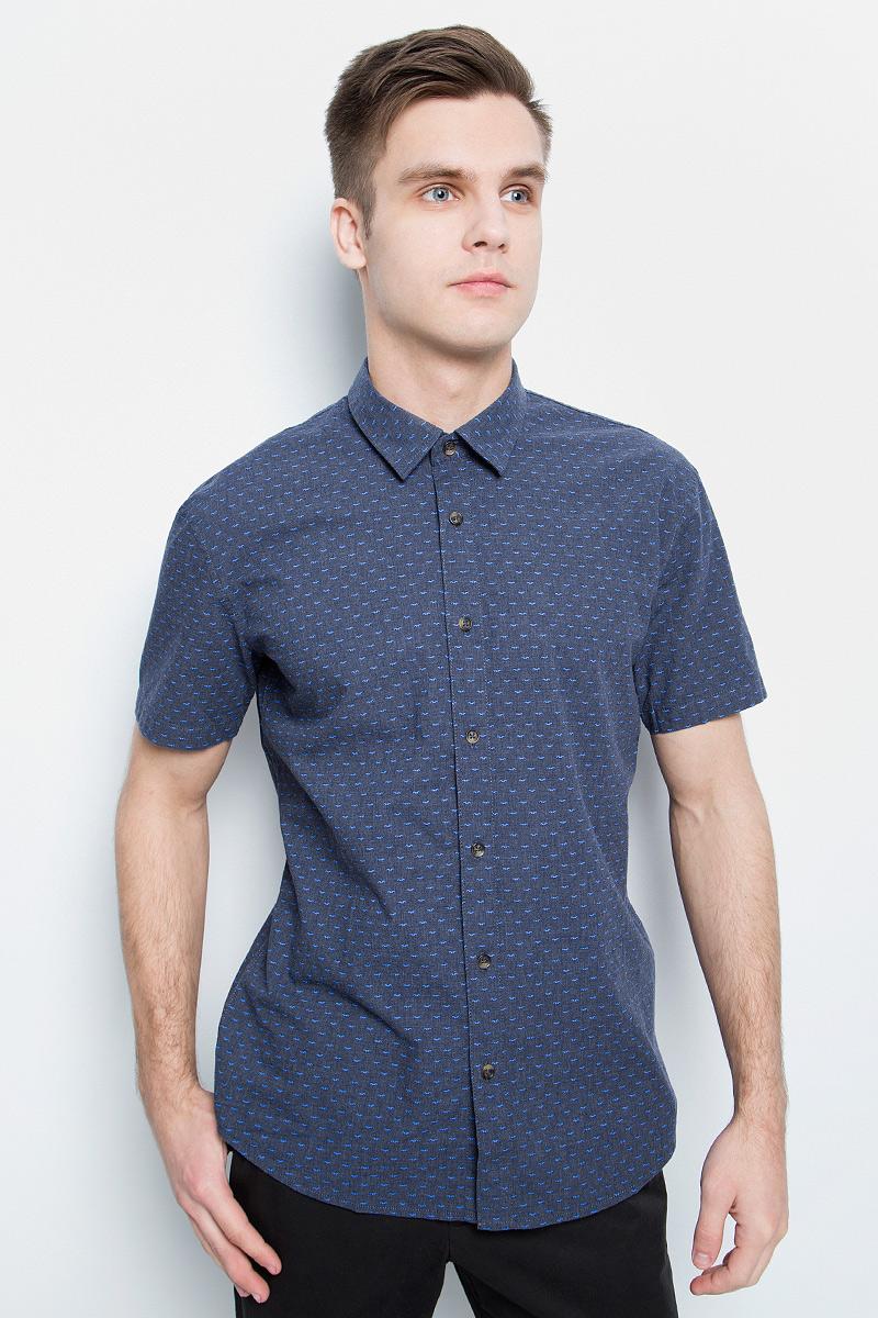 Рубашка мужская Finn Flare, цвет: темно-синий. S17-42011_101. Размер XXL (54) блузка женская finn flare цвет темно синий s17 12040 101 размер xxl 52