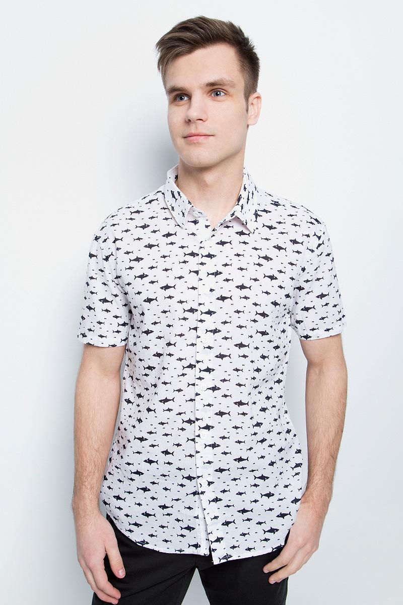 цена на Рубашка мужская Finn Flare, цвет: белый. S17-24038_201. Размер S (46)