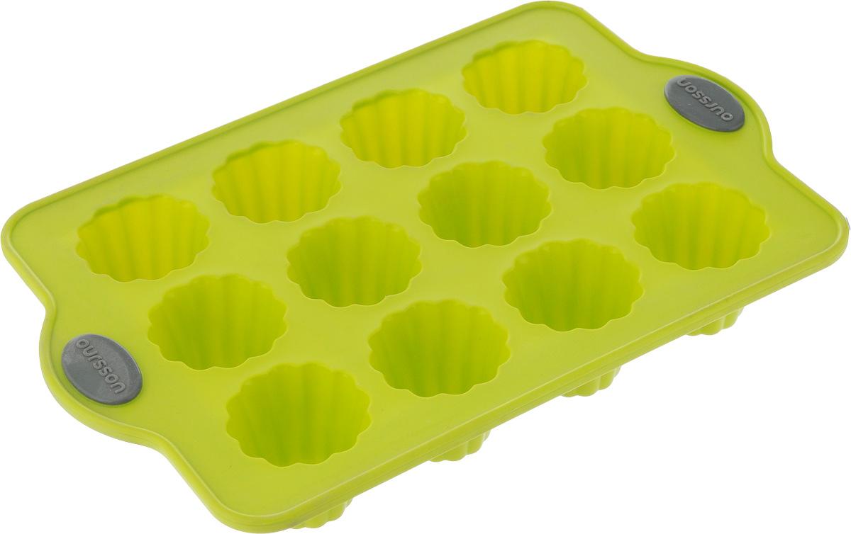 Форма для выпечки Oursson Bon Appetit, силиконовая, цвет: зеленое яблоко, 12 ячеекBW2804S/GAФорма для кексов и желе Oursson Bon Appetit, выполненная из силикона, будет отличным выбором для всех любителей домашней выпечки. Форма имеет 12 ячеек. Форма не провисает, так как расположена на металлическом каркасе. Силиконовые формы для выпечки имеют множество преимуществ по сравнению с традиционными металлическими формами и противнями. Нет необходимости смазывать форму маслом. Она быстро нагревается, равномерно пропекает, не допускает подгорания выпечки с краев или снизу.Материал устойчив к фруктовым кислотам, не ржавеет, на нем не образуются пятна. Форма может быть использована в духовках и микроволновых печах (выдерживает температуру от -20°С до +220°С), также ее можно помещать в морозильную камеру и холодильник.Размер формы: 28 х 18 х 4 см.Размер ячейки: 4,5 х 4,5 х 4 см.