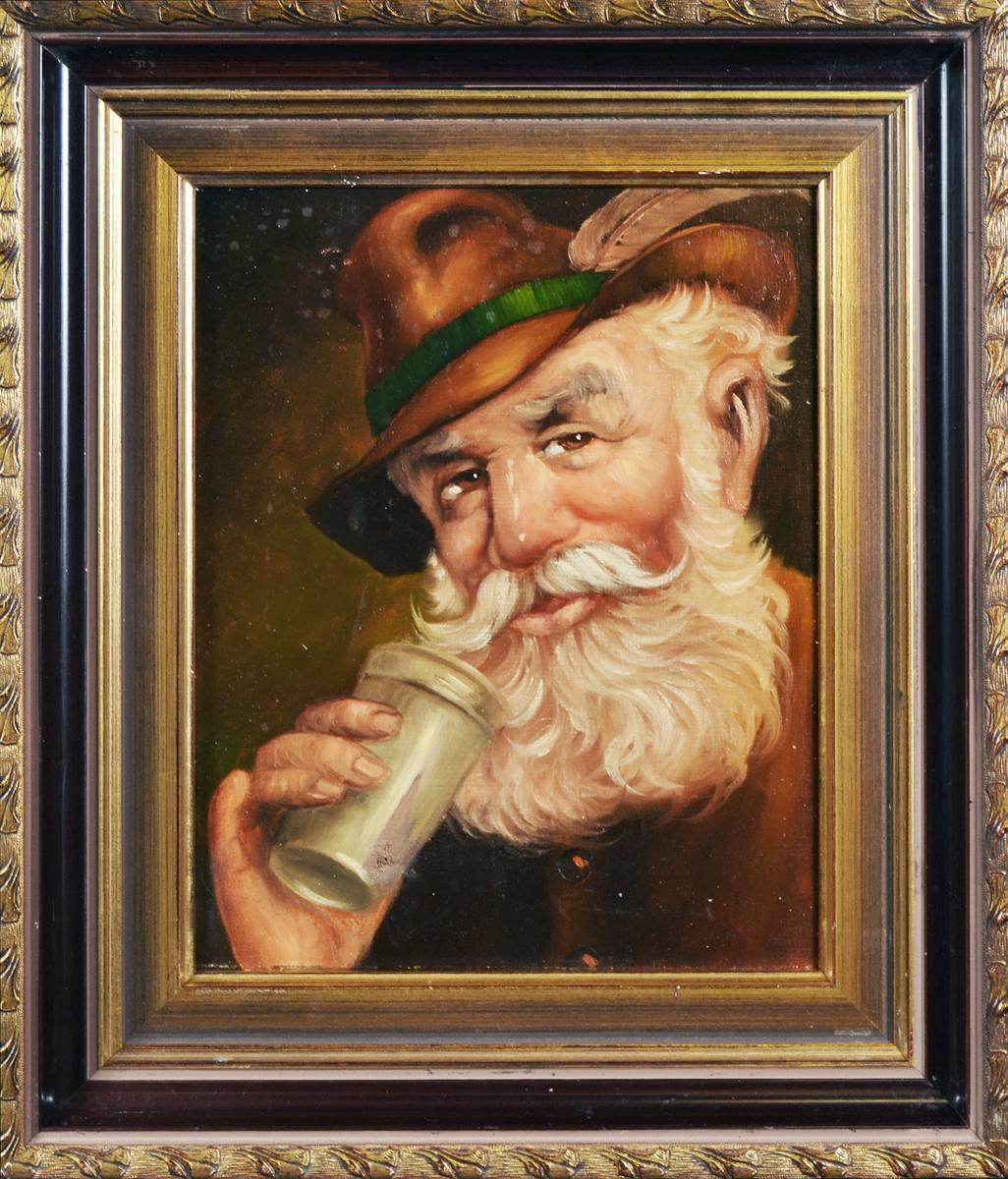 Картина Портрет Баварца с трубкой и бородой. Холст, масло. Германия, первая половина XX века картина цветы в коричневой вазе холст масло 75х75 см