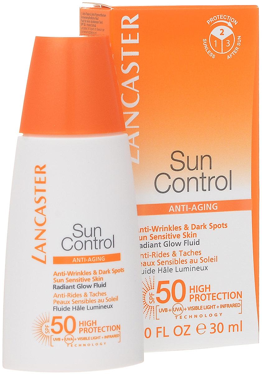 Lancaster Sun Control Солнцезащитный флюид Сияющий загар для лица против морщин и пигментных пятен для чувствительной к солнечному воздействию кожи. фактор защиты-5 рубина д рубина 17 рассказов