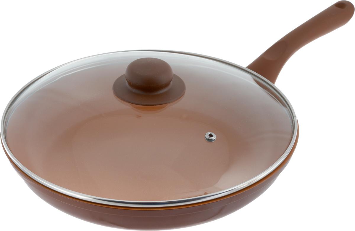 Сковорода NaturePan Ceramic, с крышкой, с керамическим покрытием. Диаметр 28 смCrP28/крСковорода NaturePan Ceramic выполнена из алюминия и имеет современное керамическое покрытие Greblon Ceramic. Благодаря такому покрытию, внутренняя и внешняя поверхность сковороды хорошо моется, устойчива к царапинам. Усиленное кованое дно служит для равномерного распределения тепла и лучшего приготовления пищи. Эргономичная пластиковая ручка не скользит в руке и приятна на ощупь. Крышка, изготовленная из термостойкого стекла, оснащена ручкой и пароотводом. Такая крышка позволяет следить за процессом приготовления пищи без потери тепла. Она плотно прилегает к краю посуды, сохраняя аромат блюд. Яркие цвета внутреннего и внешнего покрытия подчеркивают изысканность блюда при приготовлении и создают атмосферу комфорта и уюта на любой кухне. Диаметр: 28 см. Высота стенки: 4,5 см.Длина ручки: 18,5 см. Диаметр крышки: 28 см.