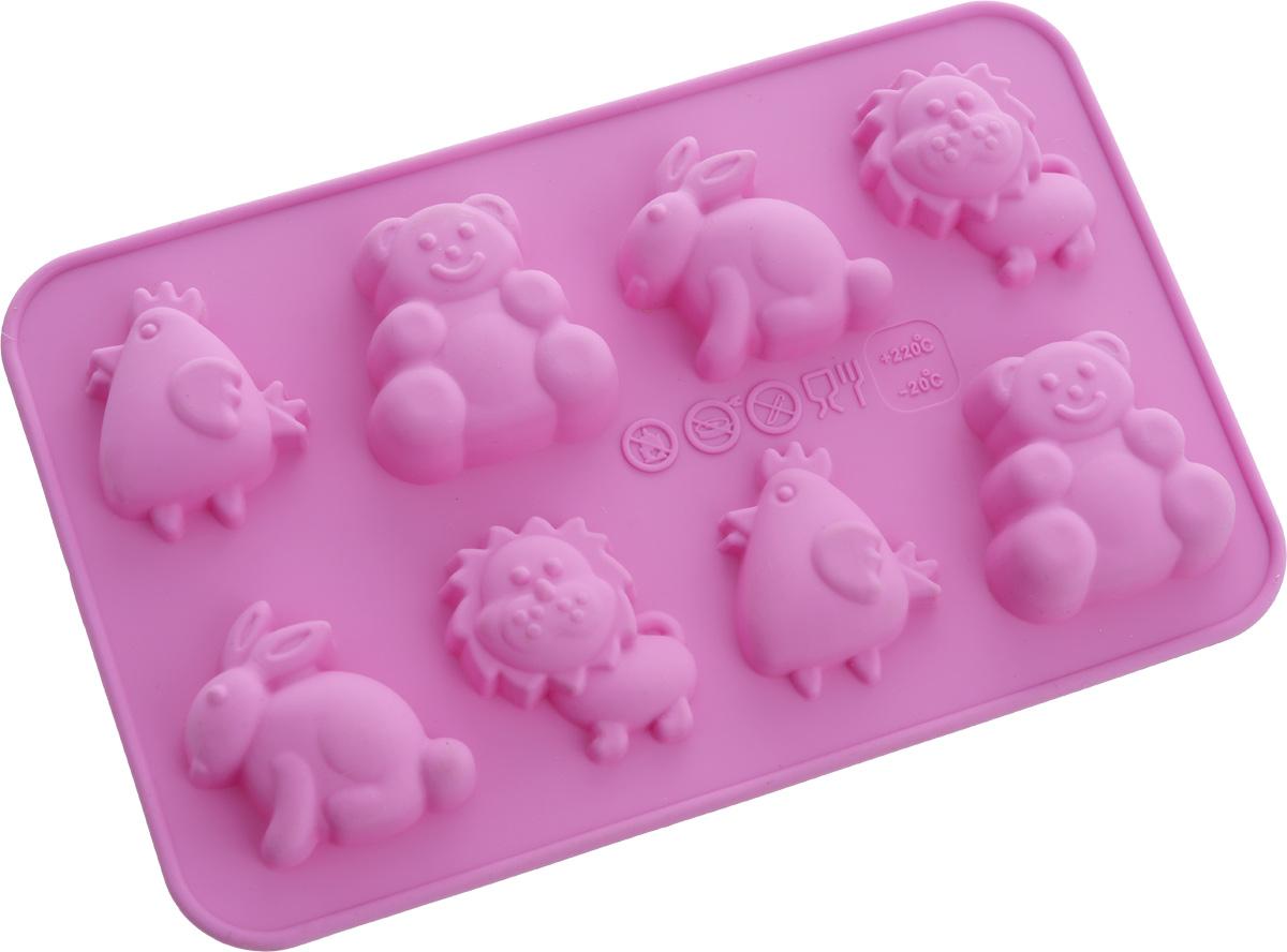 Форма для выпечки Oursson Смешные животные, силиконовая, цвет: фиолетовый, 8 ячеекBW1813S/ROФорма Oursson Смешные животные, изготовленная из высококачественного силикона, содержит 8 ячеек в виде животных. Форма предназначена для приготовления выпечки или шоколада. Выдерживает температуру от -20°С до + 220°С. Изделие можно мыть в посудомоечной машине. Можно использовать в микроволновой печи, духовке и морозильной камере. Количество ячеек: 8 шт. Размер формы: 17,5 х 11 х 1,7 см.Размер ячейки: 4 х 4 х 1,7 см.